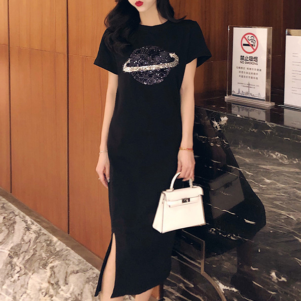 Split Hem Planet Casual T-Shirt Dress - Black