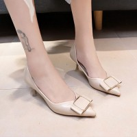 Buckle Pointed Synthetic Leather Party Sandals Shoes - Beige