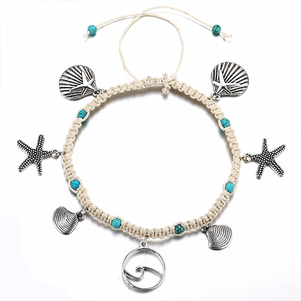 Thread Art Decorated Casual Anklet
