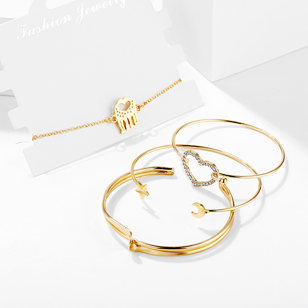 Gold Plated Crystal Four Pieces Bracelets Set