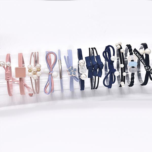 Elastic Flexible Pearl Decorated Hair Bands Set