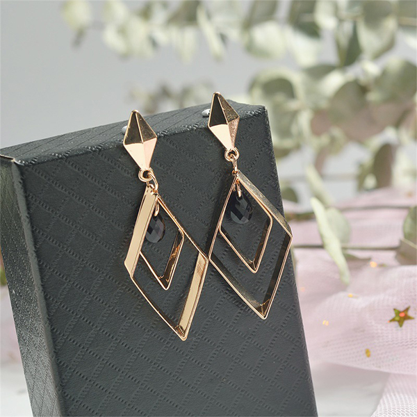 Gold Plated Rhinestone Geometric Party Earrings