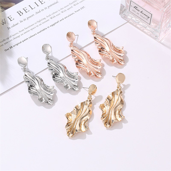 Flared Gold Plated Party Wear Earrings - Golden