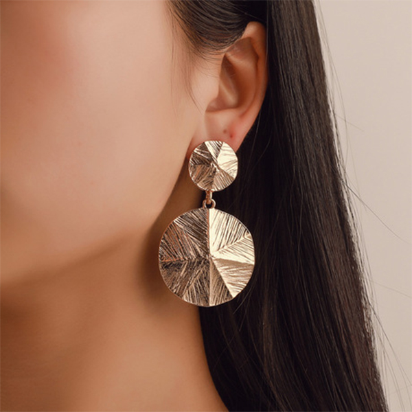 Gold Plated Dimensional Coin Earrings