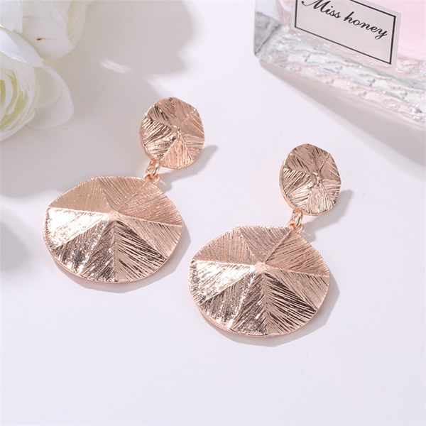 Rose Gold Plated Dimensional Coin Earrings
