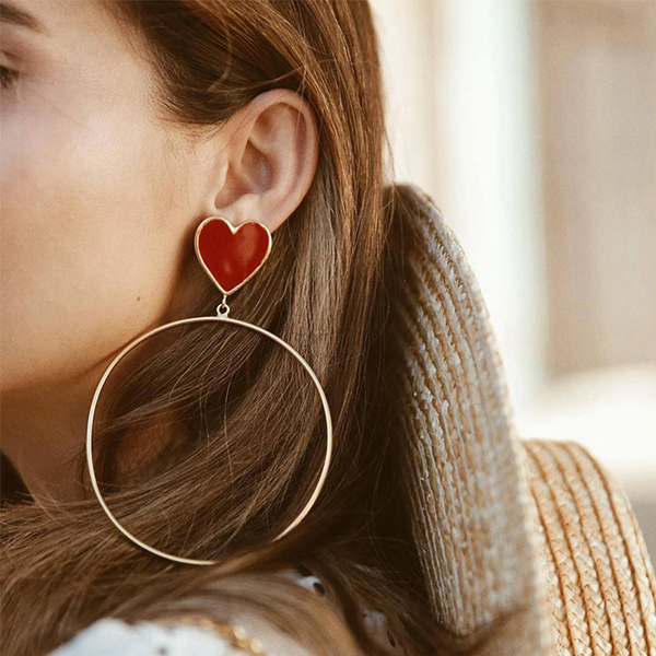 Spiral Gold Plated Party Wear Heart Earrings