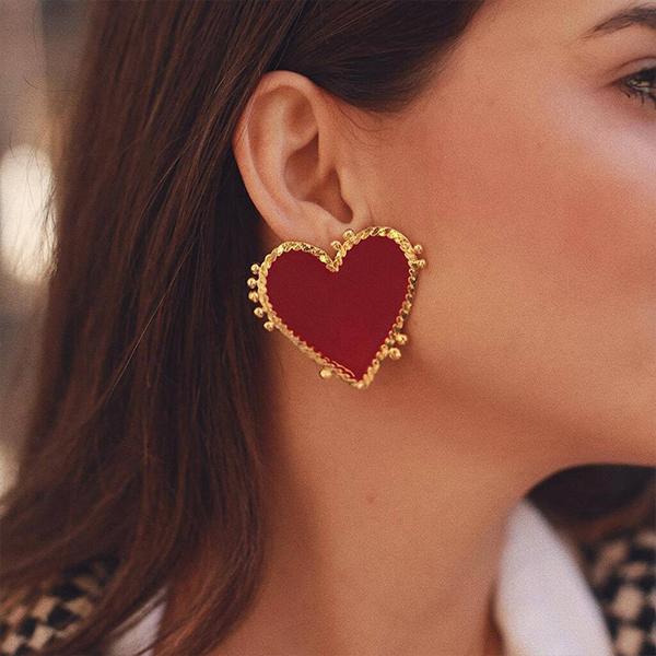 Heart Shaped Red Solid Party Wear Ear Tops