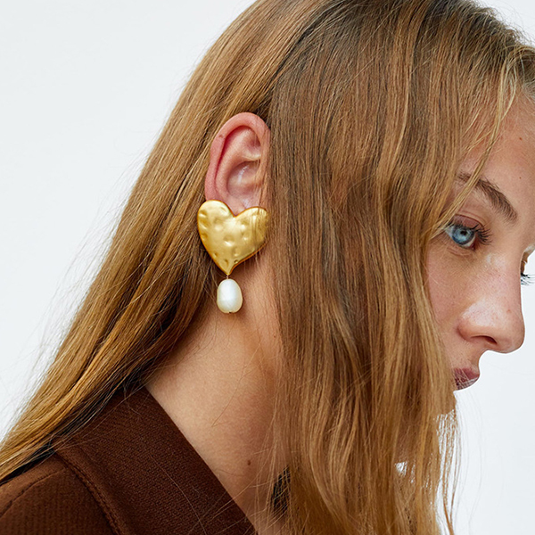 Gold Plated Pearl Party Wear Heart Ear Tops
