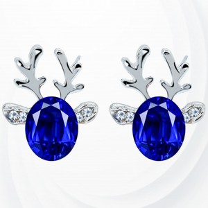 Reindeer Shaped Crystal Elegant Ear Tops - Blue