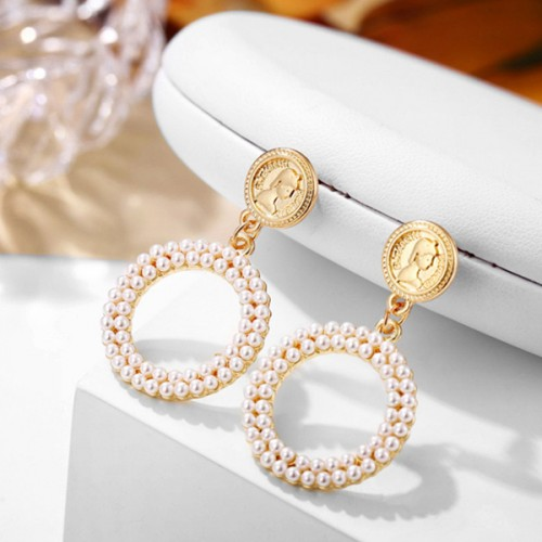 Pearl Gold Plated Round Hollow Earrings