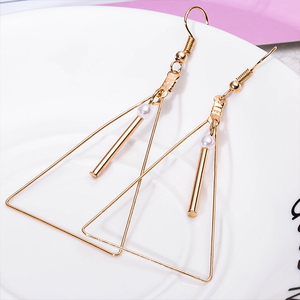 Gold Plated Geometric Shaped Party Earrings - White Pearl