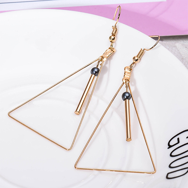 Gold Plated Geometric Shaped Party Earrings - Black Pearl