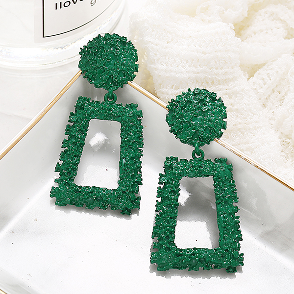 Creative Modern Geometric Shaped Earrings Pair - Green
