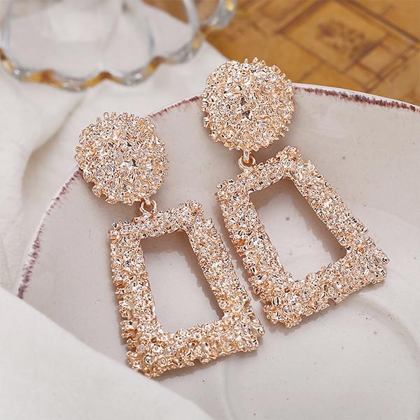 Creative Modern Geometric Shaped Earrings Pair - Rose Gold