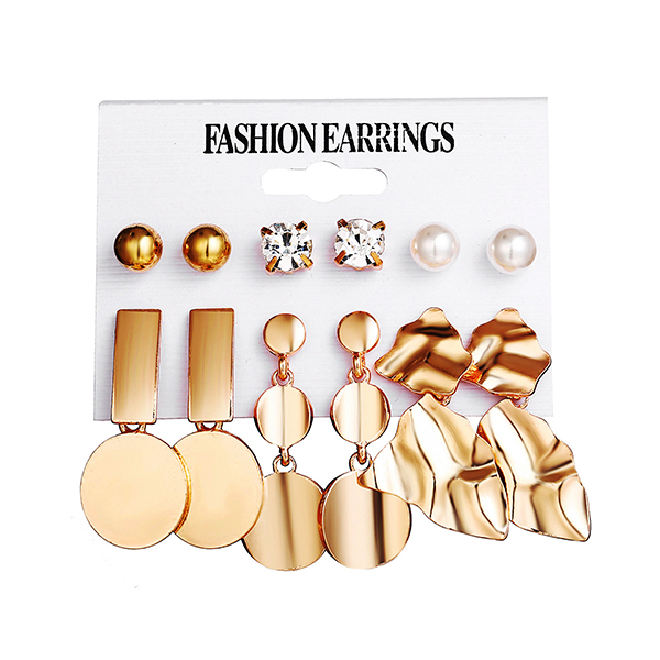 Six Pieces Party Wear Gold Plated Earrings Set