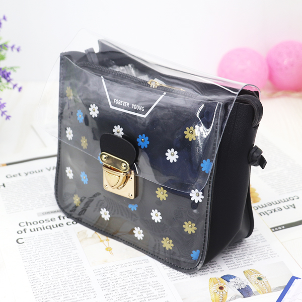 Cute Floral Colorful Jelly Messenger Bags - Black