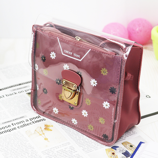Cute Floral Colorful Jelly Messenger Bags - Rose Pink