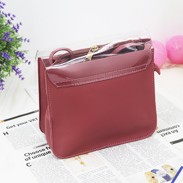 Cute Floral Colorful Jelly Messenger Bags - Wine Red
