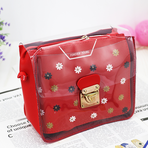 Cute Floral Colorful Jelly Messenger Bags - Red