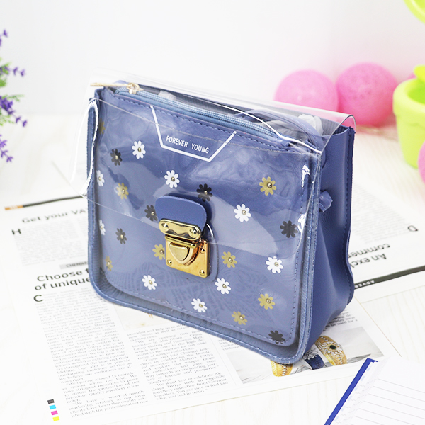 Cute Floral Colorful Jelly Messenger Bags - Blue