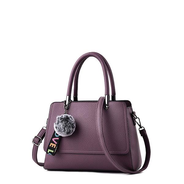 Purple PU Leather Hanging Furr Shoulder Bag