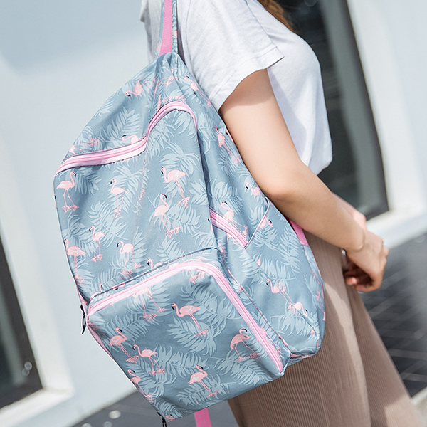 Flamingo Prints Casual Backpacks - Light Blue