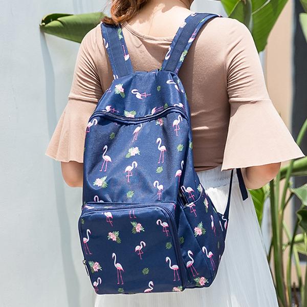 Flamingo Prints Casual Backpacks - Dark Blue
