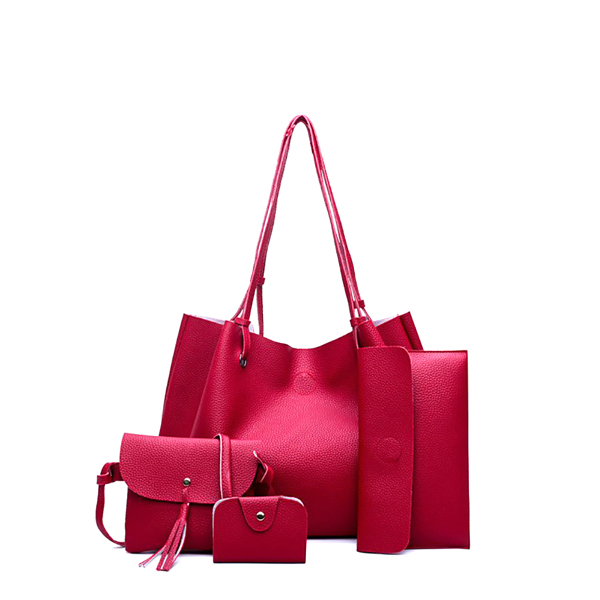Four Pieces PU Leather Red Sober Handbags