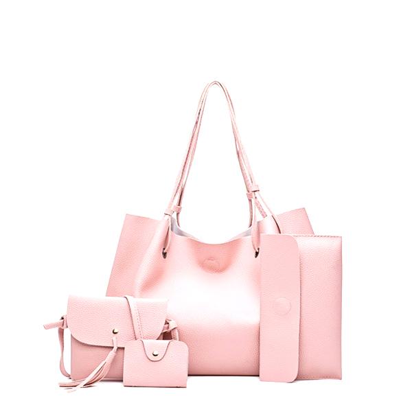 Four Pieces PU Leather Pink Sober Handbags