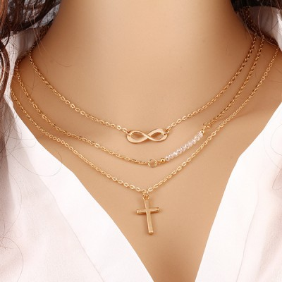 Cross Hanging Three Layer Golden Necklace