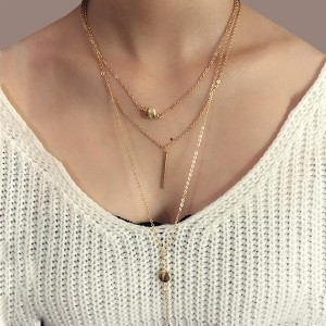 Triple Layer Gold Plated Bar Pendant