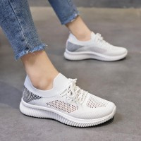 Lightweight Breathable Lace-up Women Sneakers - White