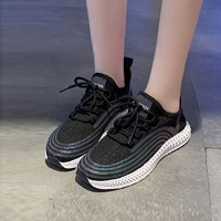 Comfortable Sole Cross Rainbow Gradient Sneaker - Black