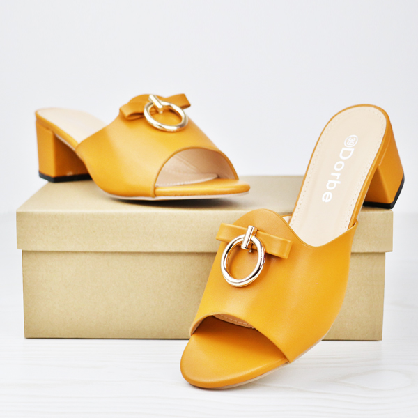 Dorbe Midi Heel Office Wear Formal Sandals - Orange