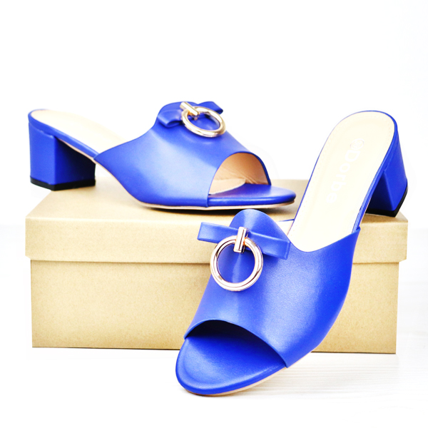 Dorbe Midi Heel Office Wear Formal Sandals - Blue