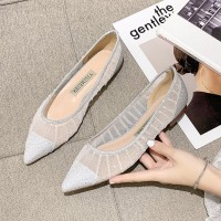 Pointed See Through Decorative Party Wear Flat Shoes - White