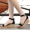 Classic Ladies Fashion High Heels Wedges Ankle Strap Black