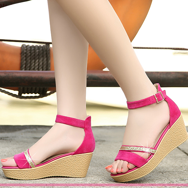 Classic Ladies Fashion High Heels Wedges Ankle Strap Hot Pink