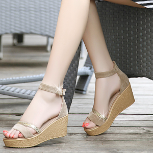 Classic Ladies Fashion High Heels Wedges Ankle Strap Khaki