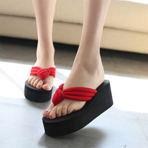 Thick Bottom Cross Strap Casual Female Sandals - Red