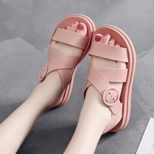 Flat Strap Buckle Closure Summer Sandals - Pink