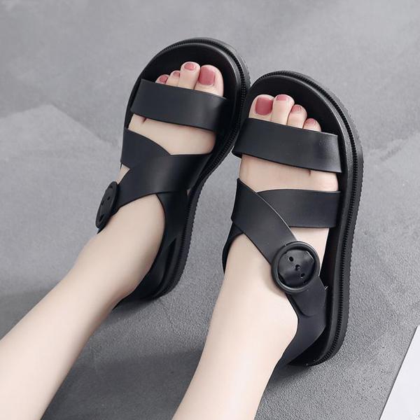 Flat Strap Buckle Closure Summer Sandals - Black
