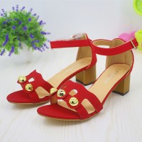 Strap Closure Party Wear Dorbe Sandals - Red