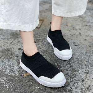Soft Bottom Lace Casual Wear Female Sneakers - Black
