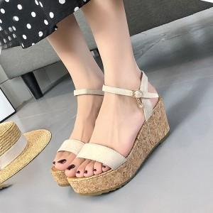 Buckle Closure Casual Wear Summer Sandals - Beige
