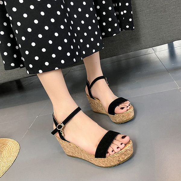 Buckle Closure Casual Wear Summer Sandals - Black