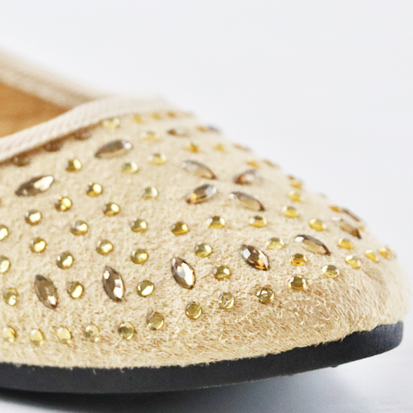 Decorated Party Wear Flat Shoes - Khaki