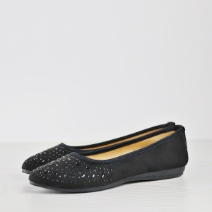 Decorated Party Wear Flat Shoes - Black