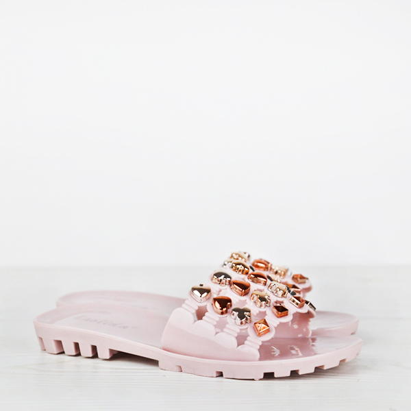 Hearts Patch Stylish Flat Party Wear Sandals - Pink