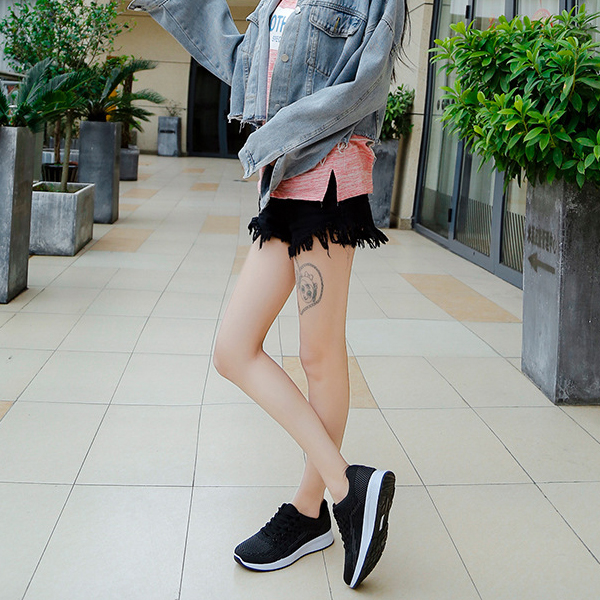 Sports Wear Summer Canvas Breathable Sneakers - Black
